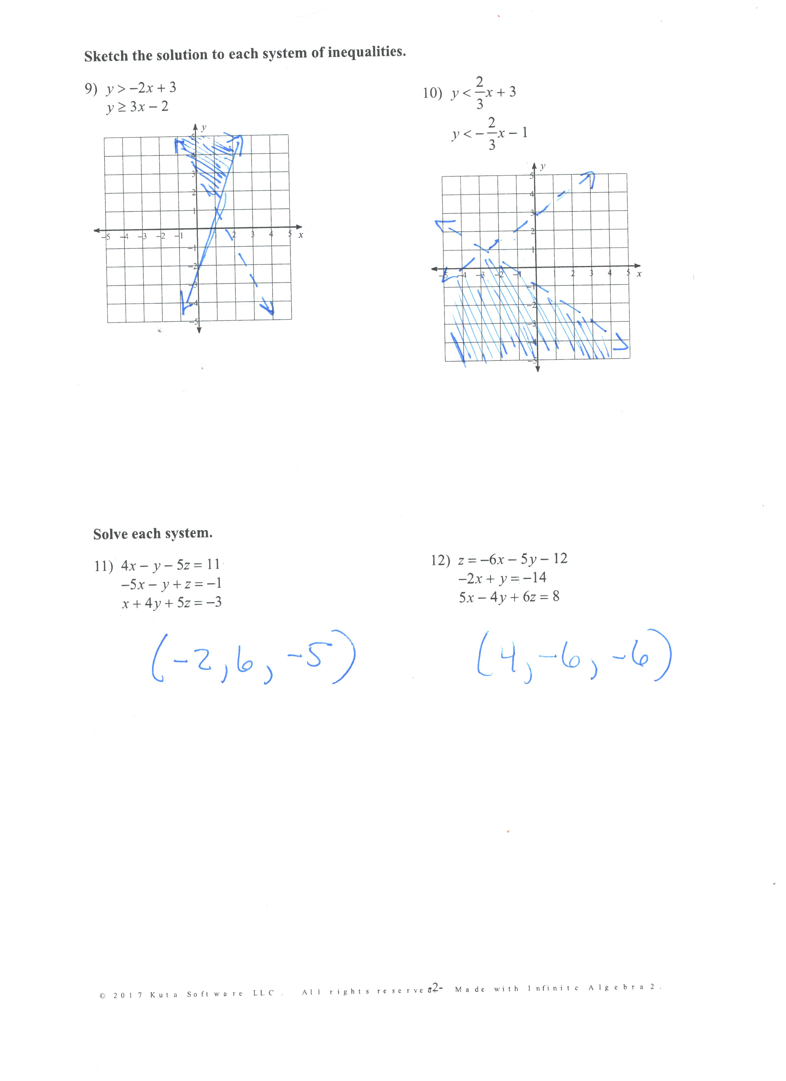 27 Classwork: 3-5 Practice Form K 22 Classwork: Graphing Linear  Inequalities (Kuta) Side 1; Side 2 20 Homework: Solving Linear Systems  (Kuta) Side 1