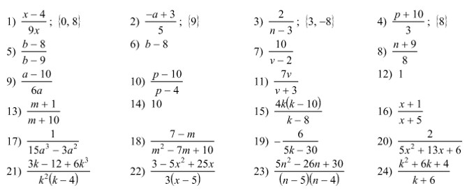 Answers to Operations on Rational Functions worksheet ...